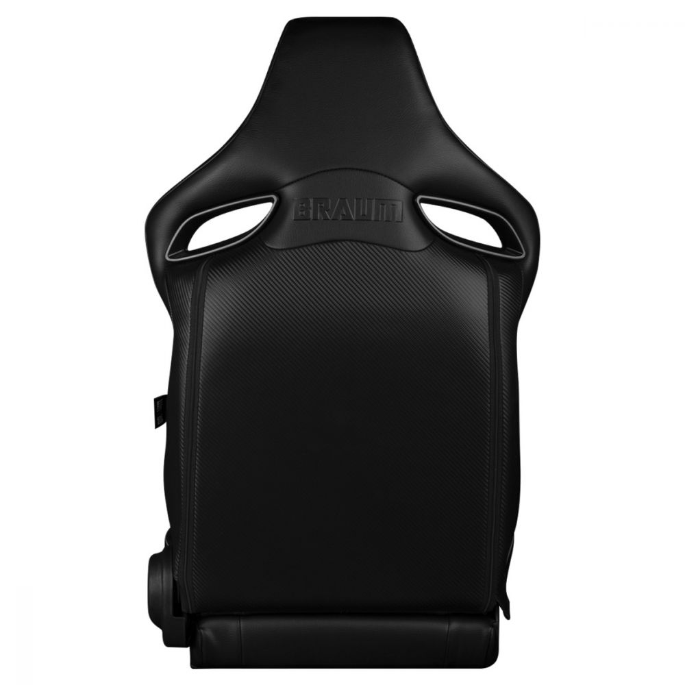 Braum Black Leatherette ORUE Series Diamond Edition Racing Seats With White Stitching and Piping, Back view