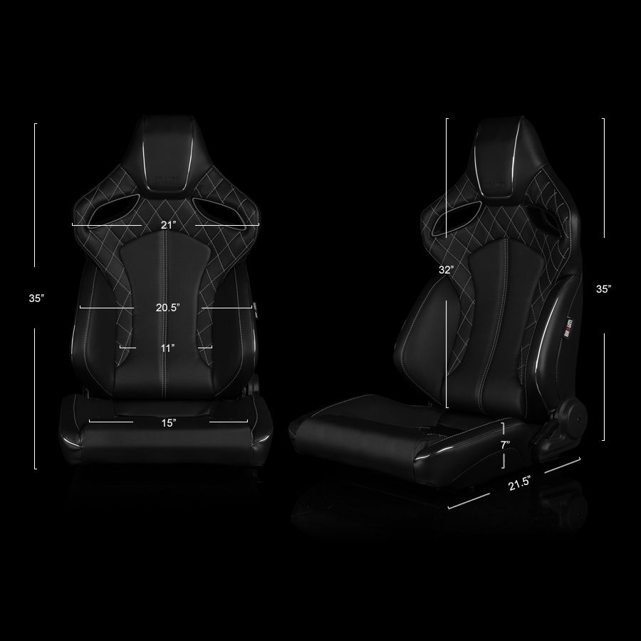 Braum Black Leatherette ORUE Series Diamond Edition Racing Seats With White Stitching and Piping, dimensions image
