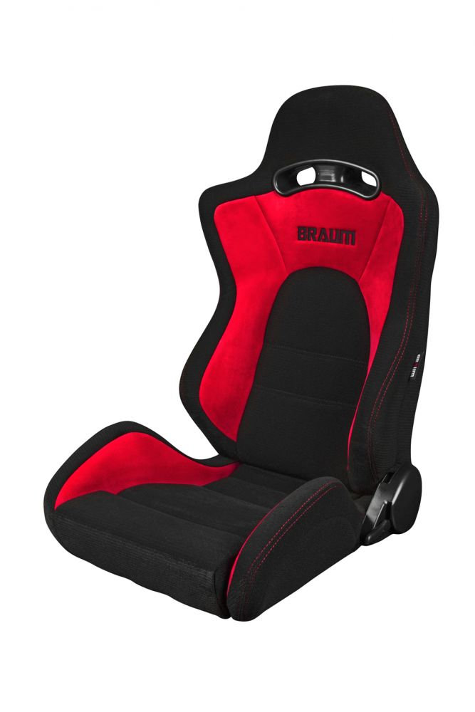 Braum ® - Pair of Black-Red Fabric Microsuede Mixed S8 Series V2 Racing Seats with Red Stitches (BRR3-BKRD2)