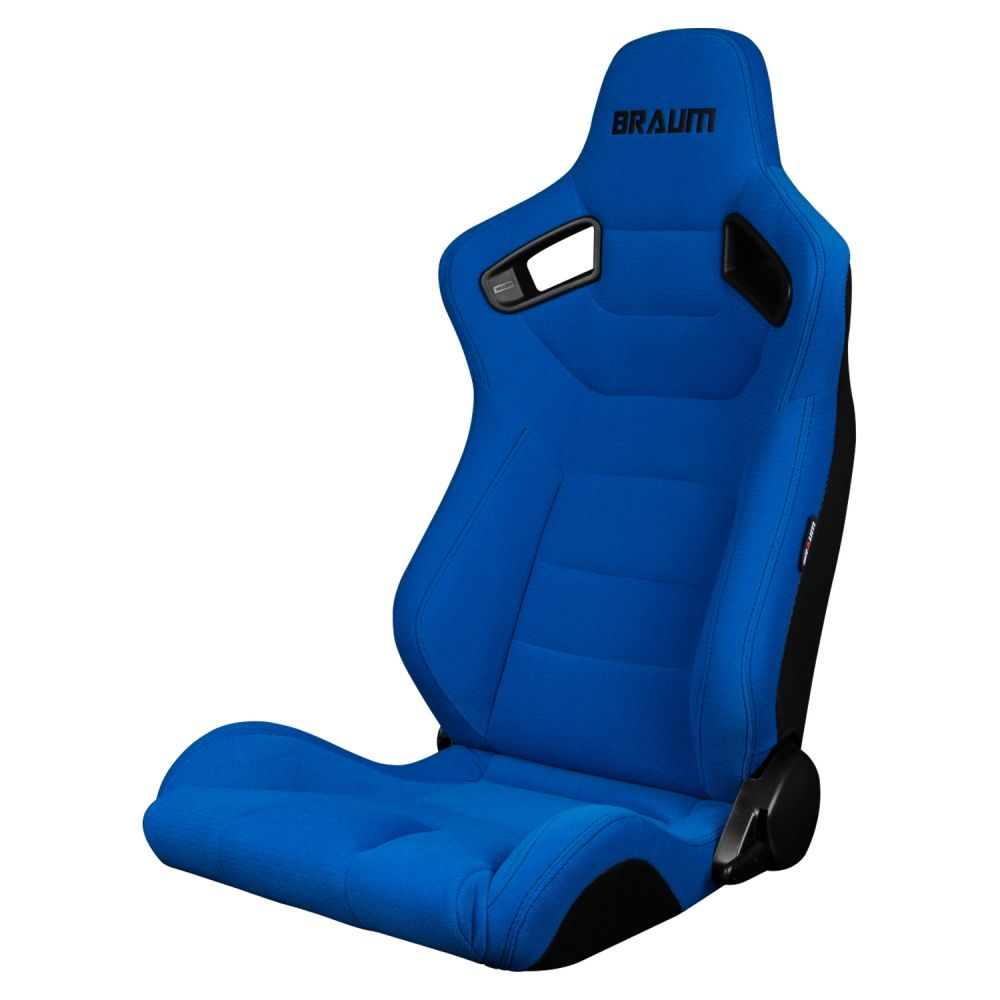 Braum Pair of Blue Fabric Elite Series Racing Seats With Black Stitching BRR1-UFBS, Front-left view