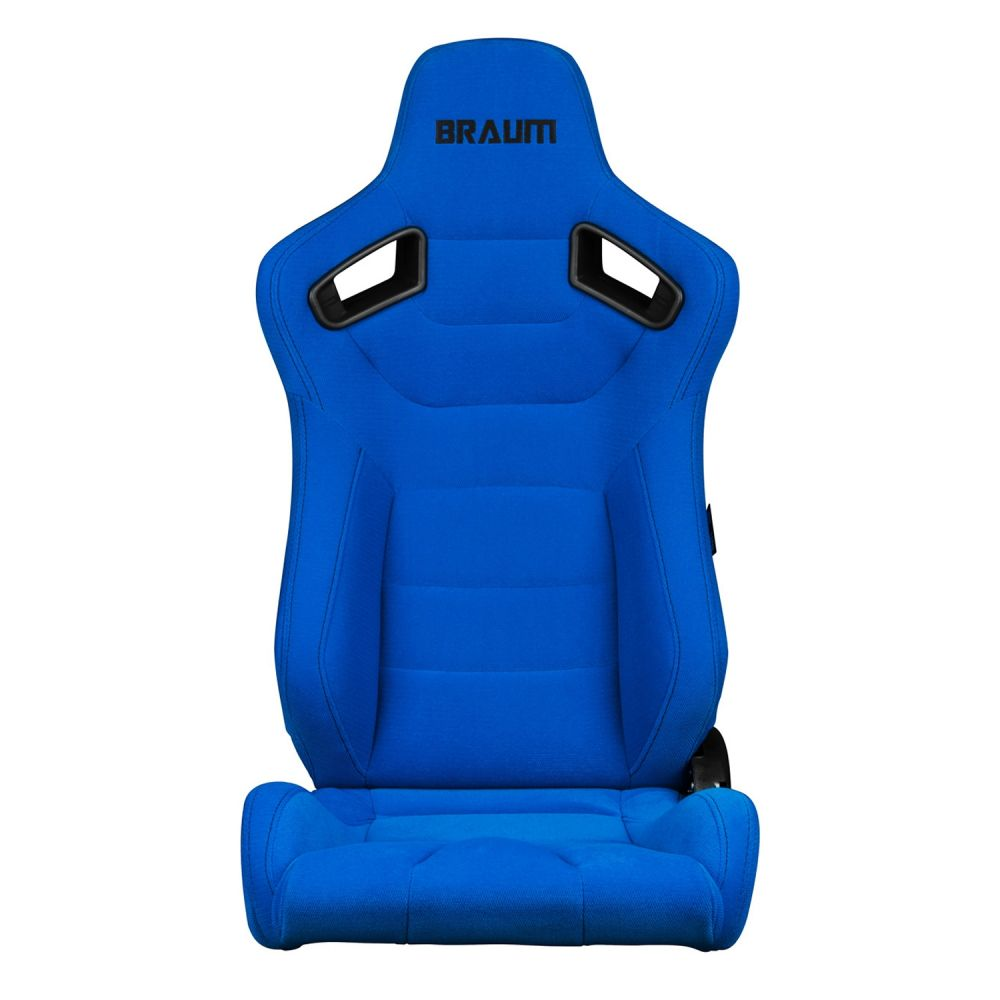 Braum Pair of Blue Fabric Elite Series Racing Seats With Black Stitching BRR1-UFBS, Front view