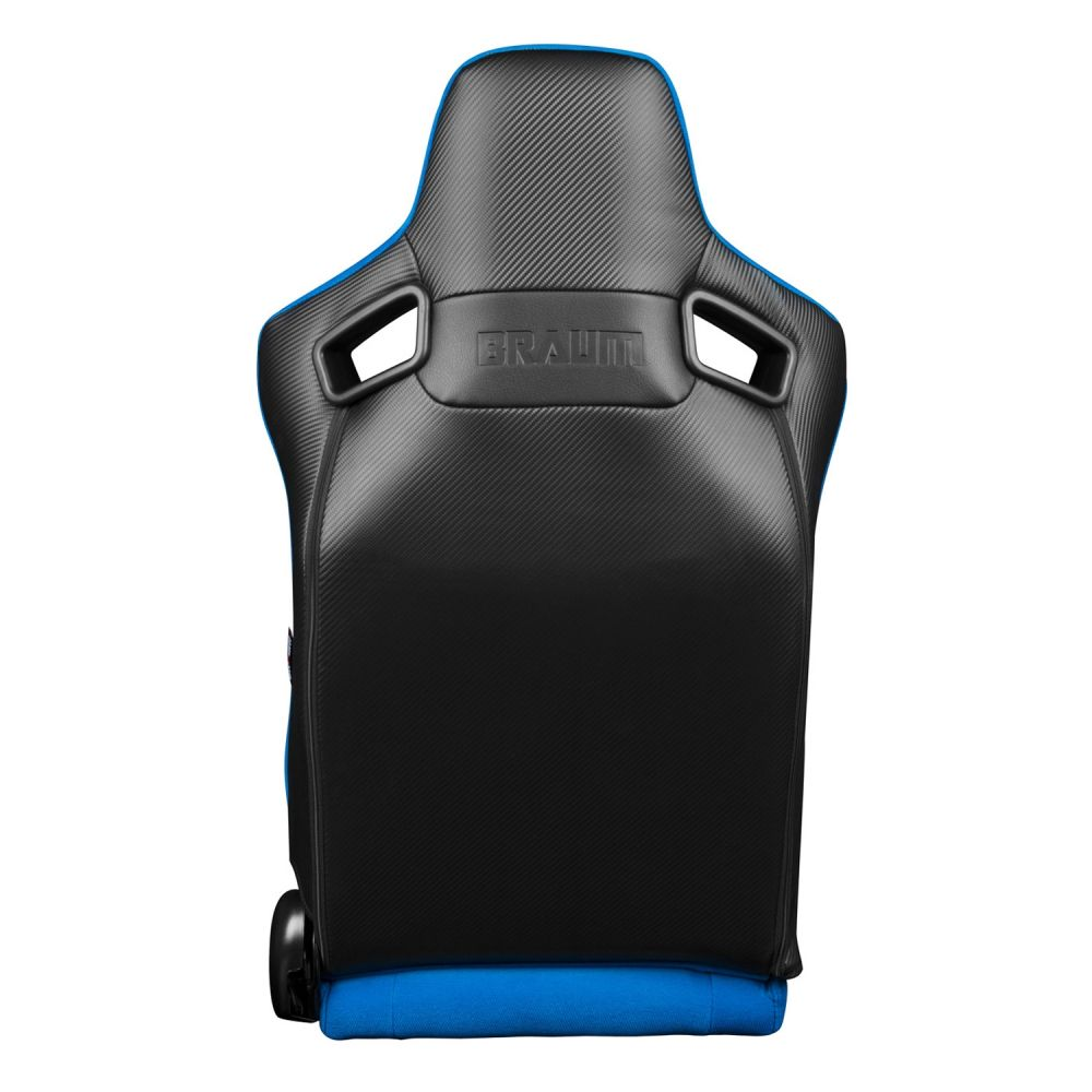 Braum Pair of Blue Fabric Elite Series Racing Seats With Black Stitching BRR1-UFBS, back view
