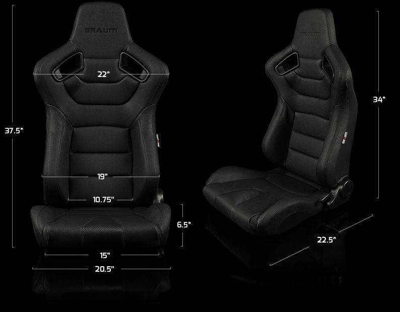 Braum Pair of Blue Fabric Elite Series Racing Seats With Black Stitching BRR1-UFBS, dimensions