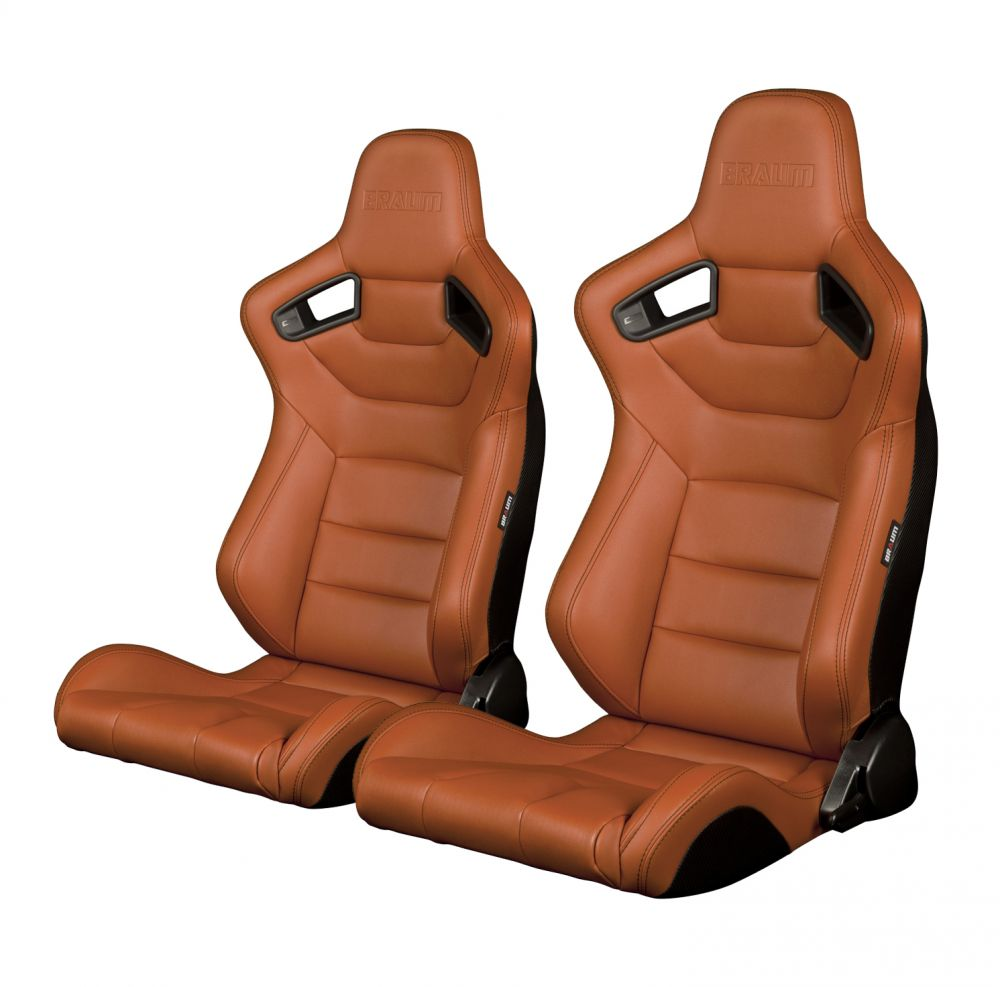 Braum ® - Pair of British Tan Leatherette Carbon Fiber Mixed Elite Series Racing Seats (BRR1-BTBS), Pair