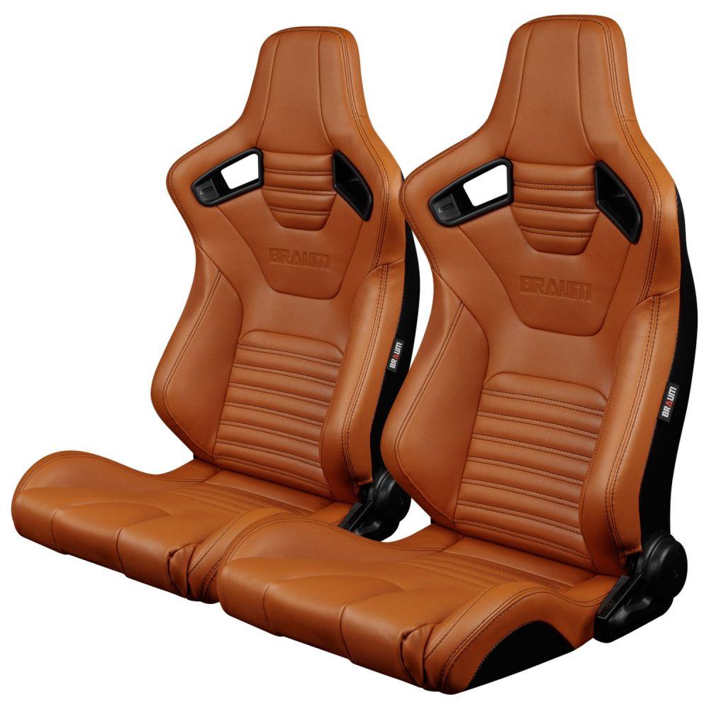Braum Pair of British Tan Leatherette Elite-X Series Racing Seats with Black Stitches BRR1X-BTBS, Pair