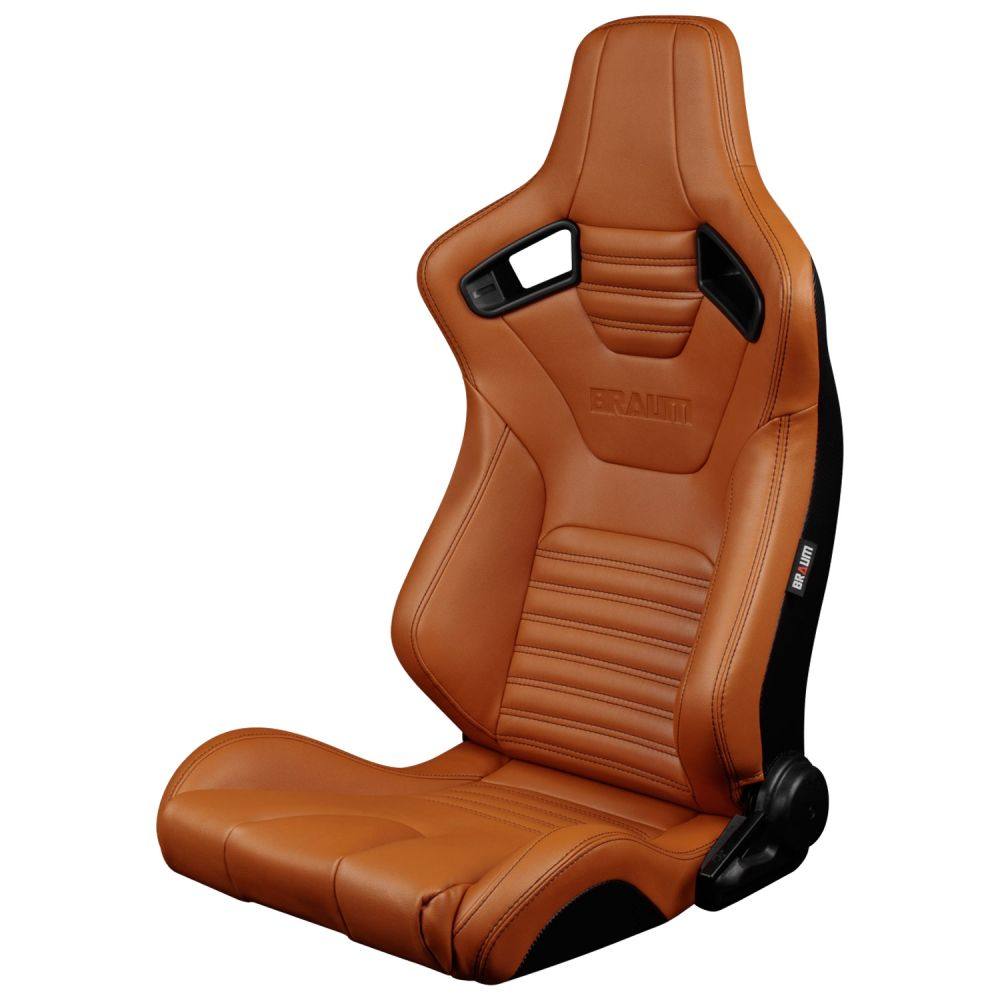 Braum Pair of British Tan Leatherette Elite-X Series Racing Seats with Black Stitches BRR1X-BTBS, Front-Left View