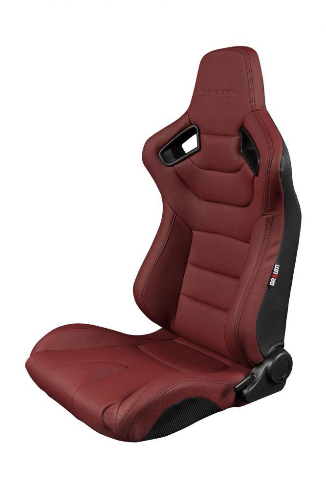 Braum ® - Pair of Maroon Leatherette Carbon Fiber Mixed Elite Series Racing Seats (BRR1-MRBS)