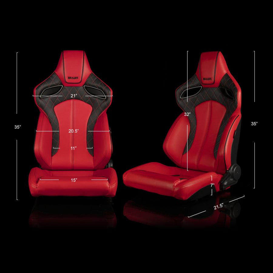 Braum ® - Pair of Red/Black Leatherette ORUE Series Racing Seats Diamond Ed. With Black/Red Stitching and Black Piping (BRR6-RDBS)