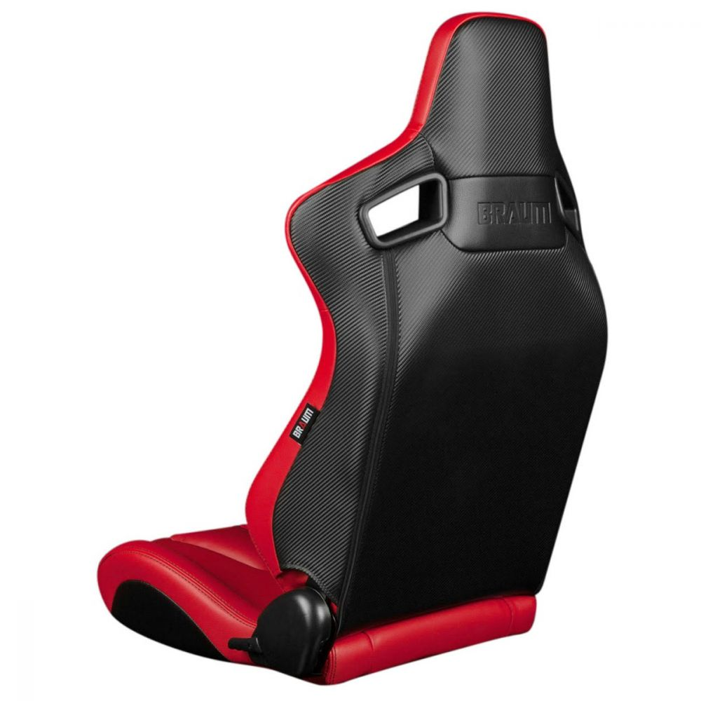 Braum ® - Pair of Red Leatherette ELITE-X Series Racing Seats With Black Stitching (BRR1X-RDBS)