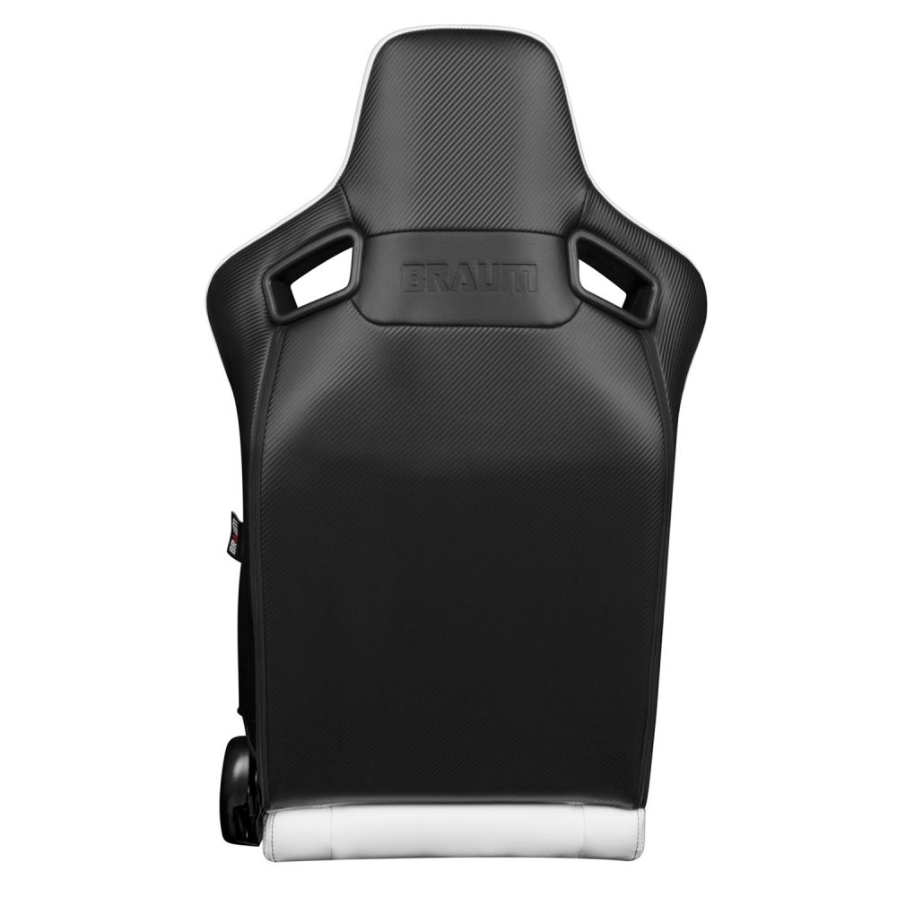 Braum Pair of White Leatherette Elite-X Series Racing Seats with Black Stitches BRR1X-WHBS, back
