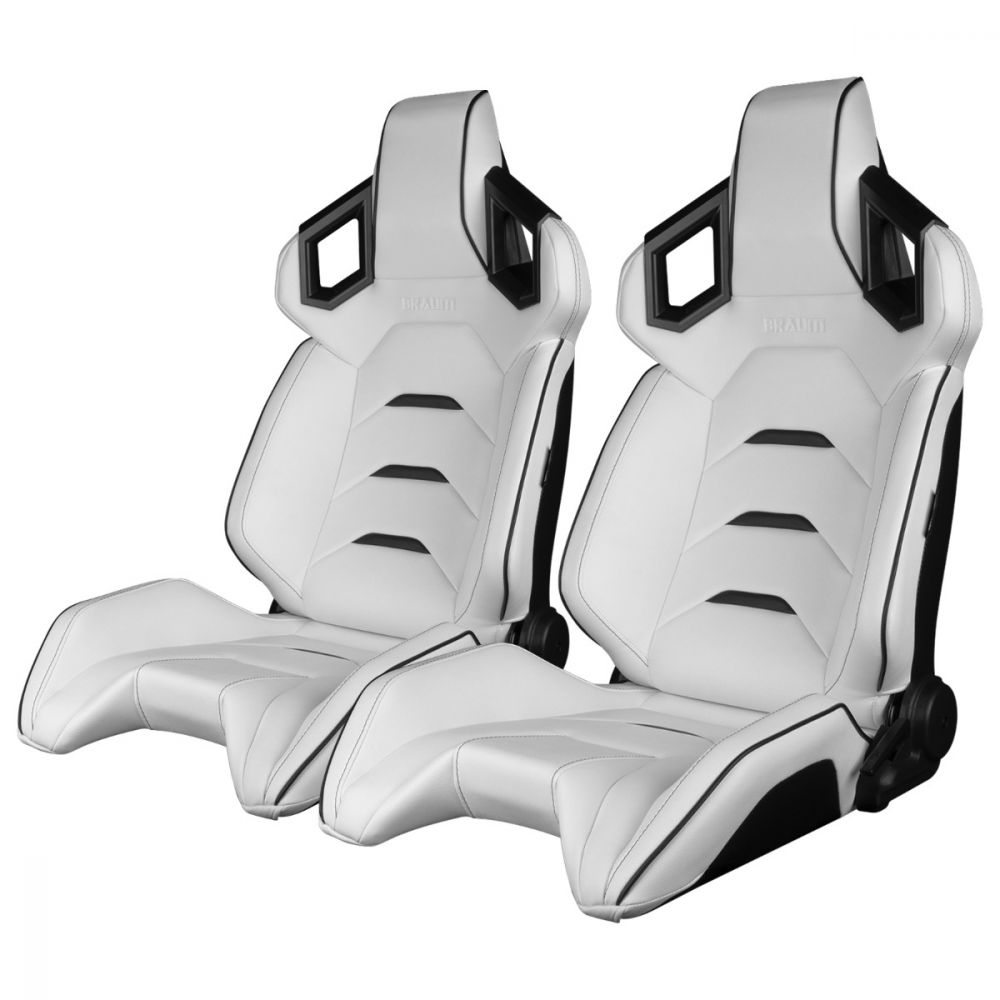 Braum ® - Pair of White Leatherette ALPHA-X Series Racing Seats With Black Stitching and Piping (BRR5-WHBK)