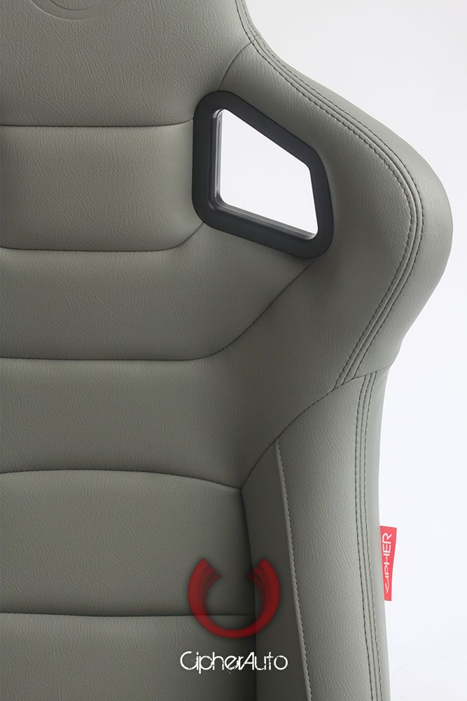 Cipher Auto ® - Grey Leatherette Carbon Fiber with Dark Grey Stitching Universal Euro Racing Seats (CPA2001PCFGY)