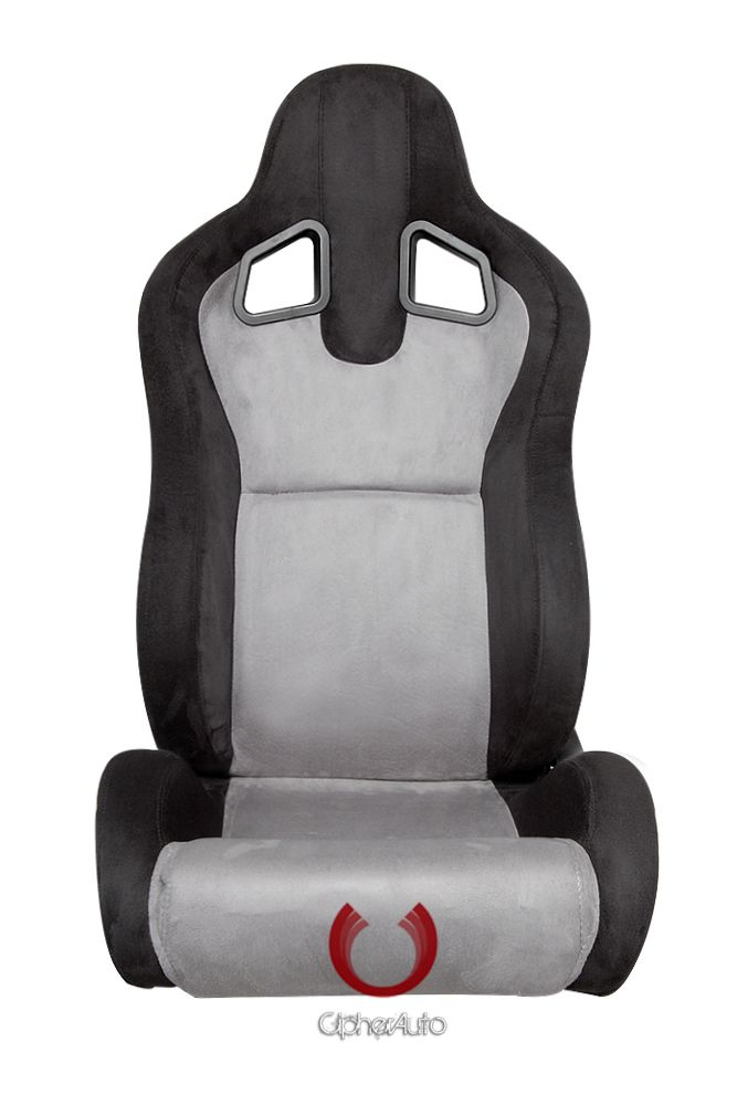 Cipher Auto Pair of Black and Grey Microsuede Universal Racing Seats (CPA1039SDBKGY), Front View