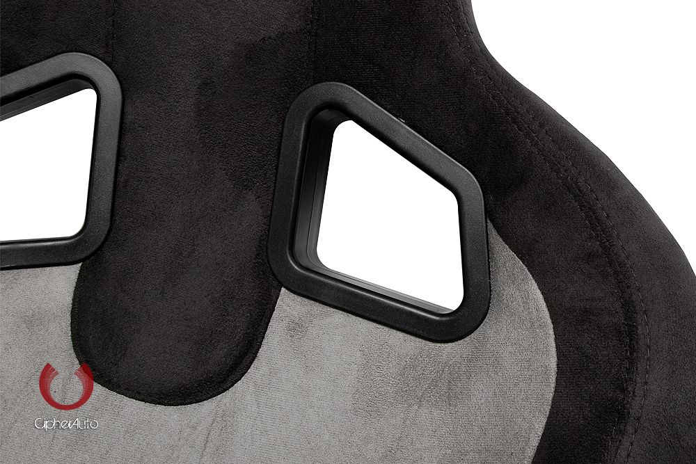 Cipher Auto Pair of Black and Grey Microsuede Universal Racing Seats (CPA1039SDBKGY), Top Close look
