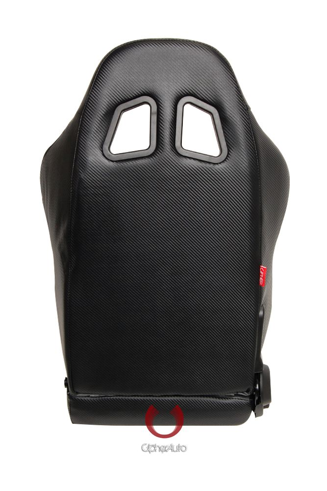 Cipher Auto Pair of Gray and Black Carbon Fiber PU Leatherette Universal Racing Seats (CPA1011CFBKGY), Back