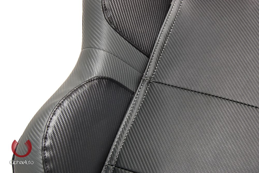 Cipher Auto Pair of Gray and Black Carbon Fiber PU Leatherette Universal Racing Seats (CPA1011CFBKGY), Close look 1