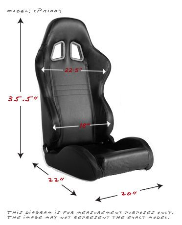 Cipher Auto Pair of Gray and Black Carbon Fiber PU Leatherette Universal Racing Seats (CPA1011CFBKGY), Dimensions