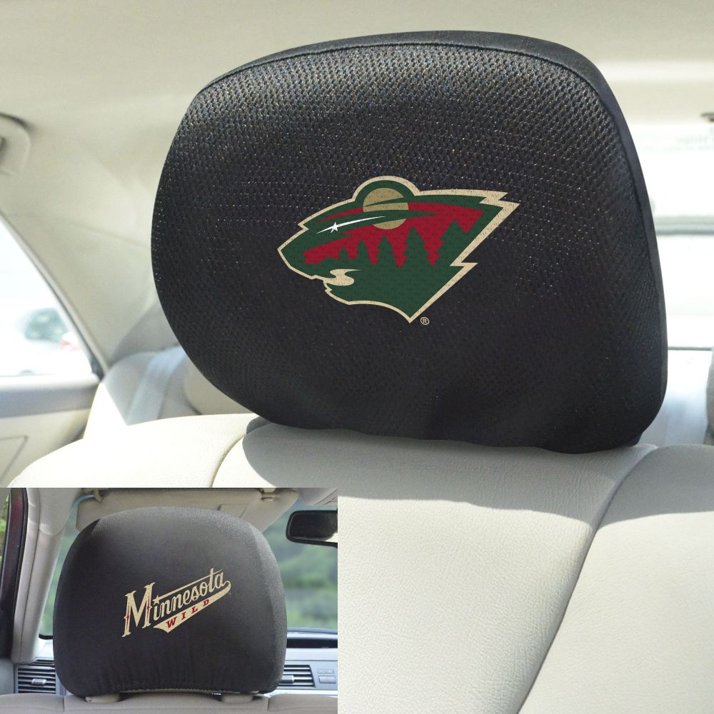 Fanmats NHL Minnesota Wild Universal Head Rest Cover, Front and back view