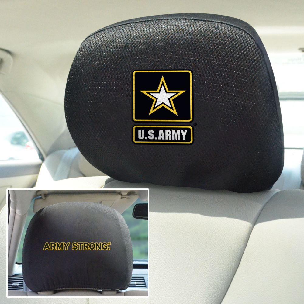 Fanmats US Army Universal Head Rest Cover, Front and back view
