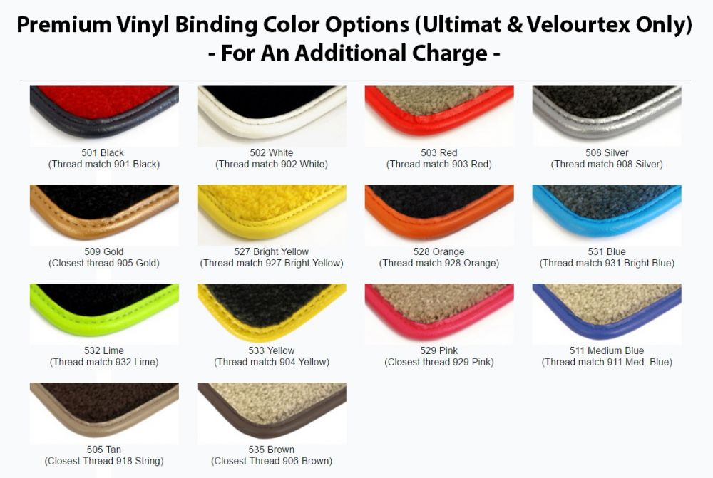 Lloyd Mats Velourtex Black Front Floor Mats For Cadillac, Premium Binding color options