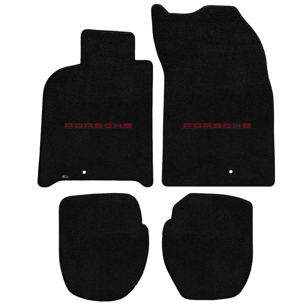 Lloyd ® - Ultimat™ Black Custom 4PC Floor Mats With Red Porsche Lettering Logo (600242)