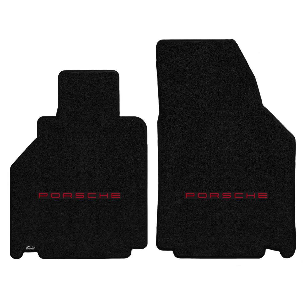 Lloyd ® - Ultimat™ Black Custom Front Floor Mats With Red Porsche Lettering Logo (600236)