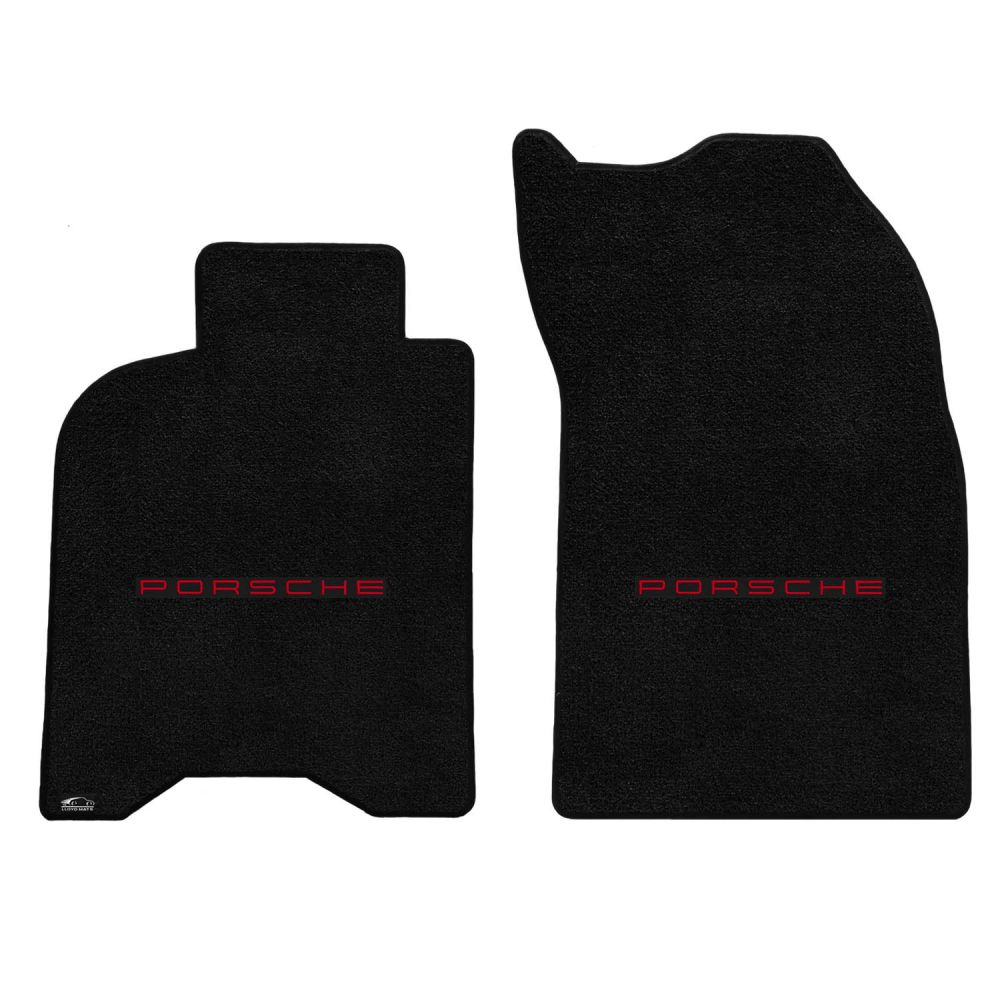 Lloyd ® - Ultimat™ Black Custom Front Floor Mats With Red Porsche Lettering Logo (600244)