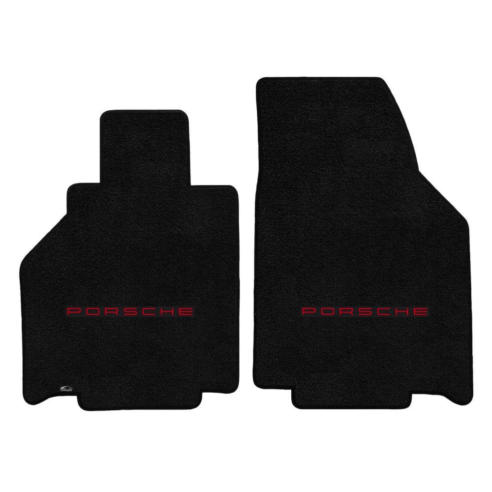 Lloyd ® - Ultimat™ Black Custom Front Floor Mats With Red Porsche Lettering Logo (600265)