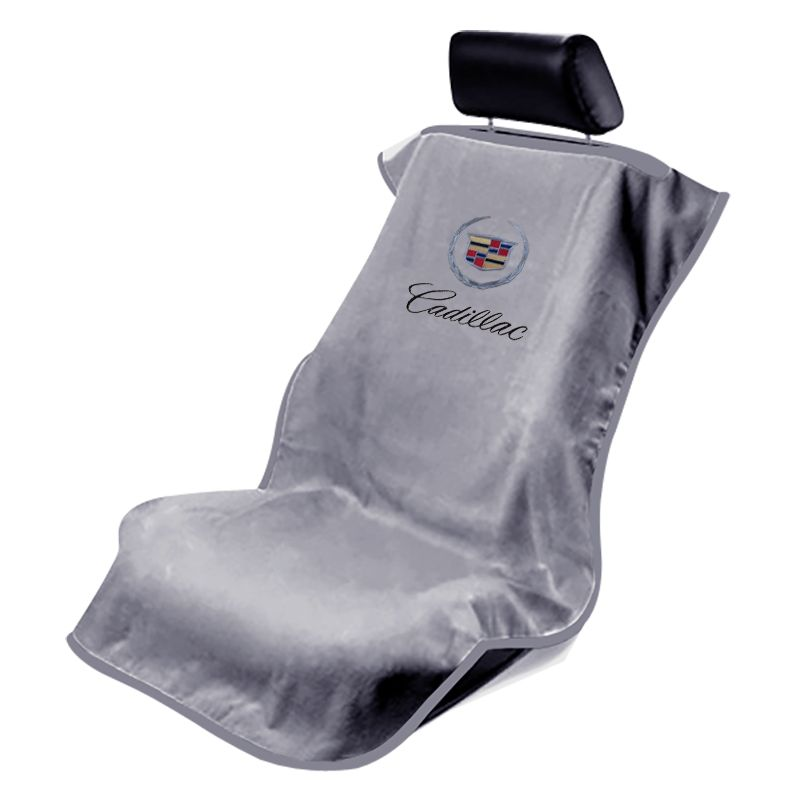 Seat Armour ® - Grey Towel Seat Covers with Cadillac Crest and Script (SA100CADG)