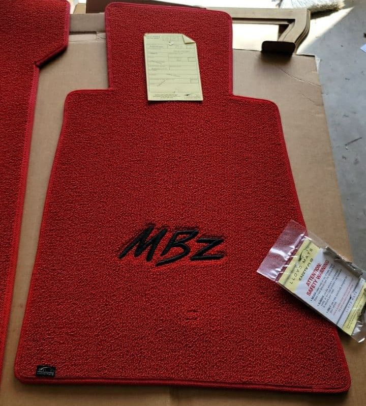 Lloyd Mats ® - Classic Loop Red Front Floor Mats For Mercedes-Benz with Black MBZ Embroidery