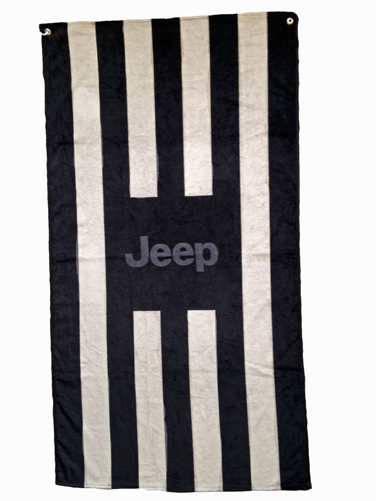 Seat Armour Black and Gray Striped Towel 2 Go Seat Cover with Jeep Logo - Seat Cover Alone View