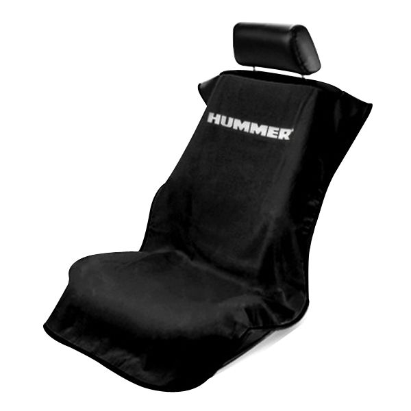 Seat Armour Black Towel Seat Cover with Hummer Logo - Front-Right View