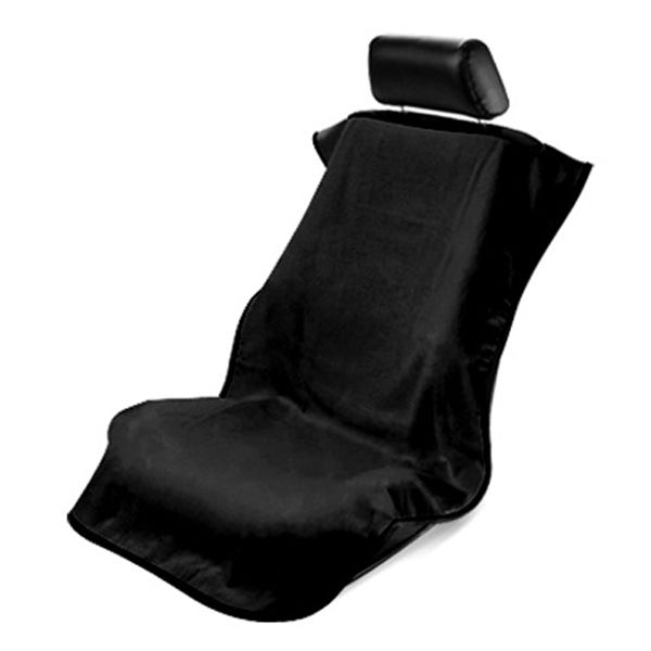 Seat Armour Black Towel Seat Cover, Front-Right View