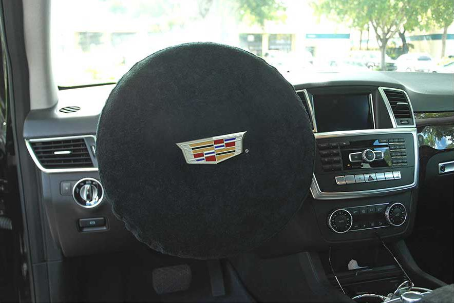 Seat Armour Black Universal Steering Wheel Protector with Cadillac Embroidery