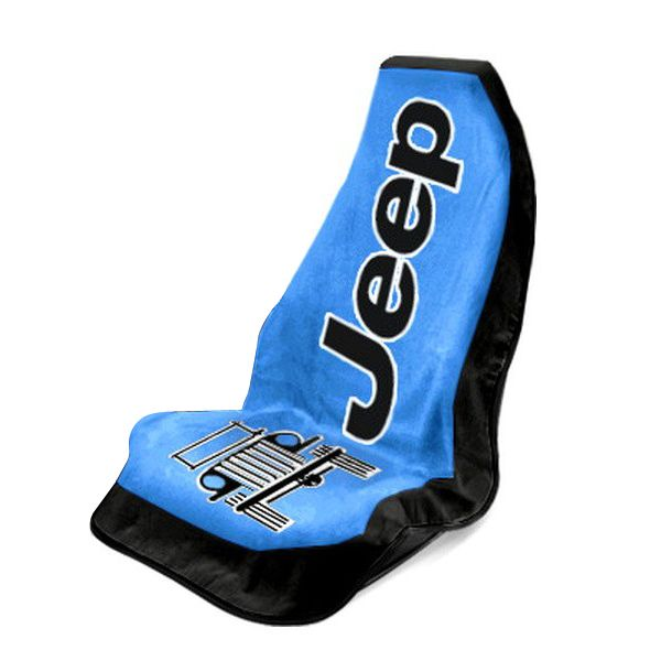 Seat Armour Blue Towel 2 Go Seat Cover with Jeep Wrangler  Logo - Front-Right View