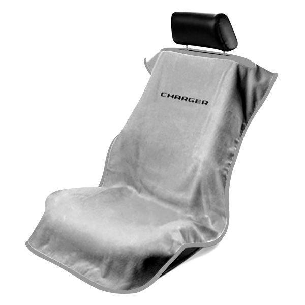 Seat Armour Grey Towel Seat Cover with Charger Logo, Front-Right View