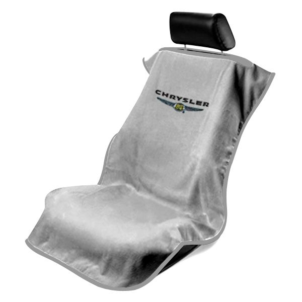 Seat Armour Grey Towel Seat Cover with Chrysler Logo, Front-Right View