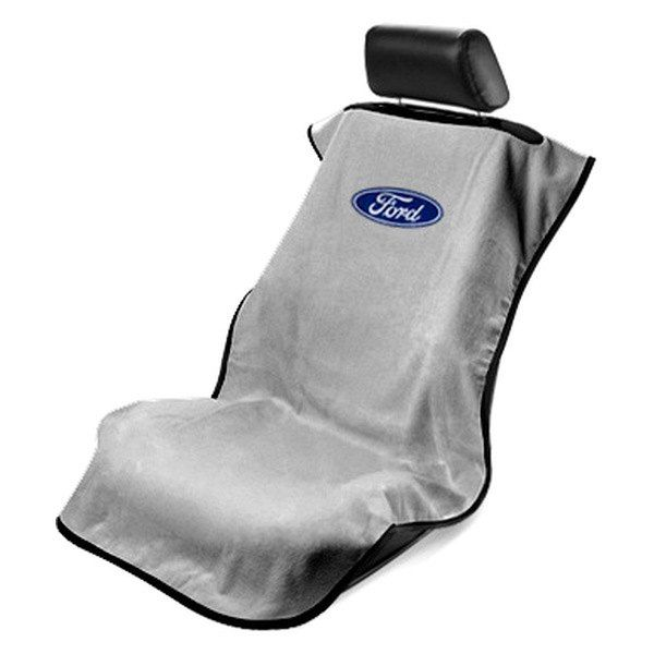 Seat Armour Grey Towel Seat Cover with Ford Logo - Front-Right View