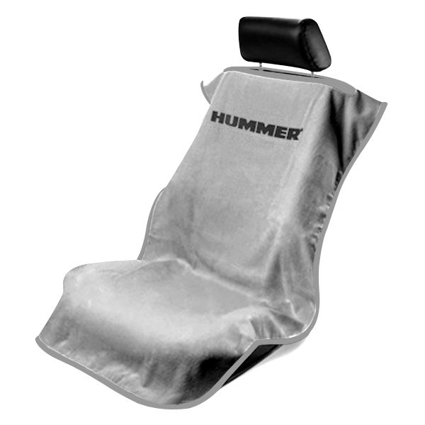 Seat Armour Grey Towel Seat Cover with Hummer Logo - Front-Right View