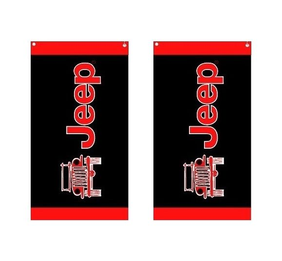 Seat Armour Pair of Black And Red Towel 2 GO Seat Covers with Jeep Wrangler Logo T2G100BLK