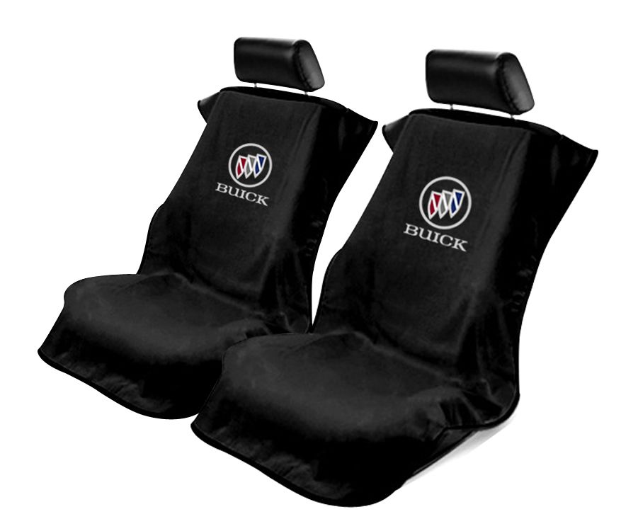 Seat Armour Pair of Black Towel Seat Covers with Buick Logo, Front-Right View