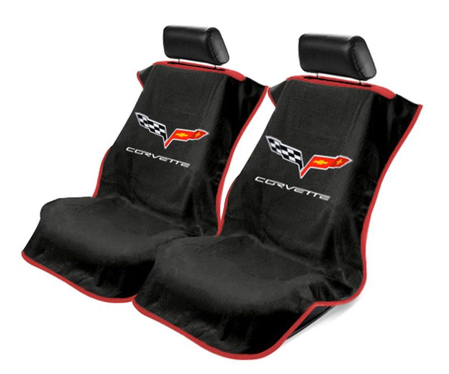 Seat Armour Pair of Black Towel Seat Covers with Corvette C6 Logo, Front-Right View