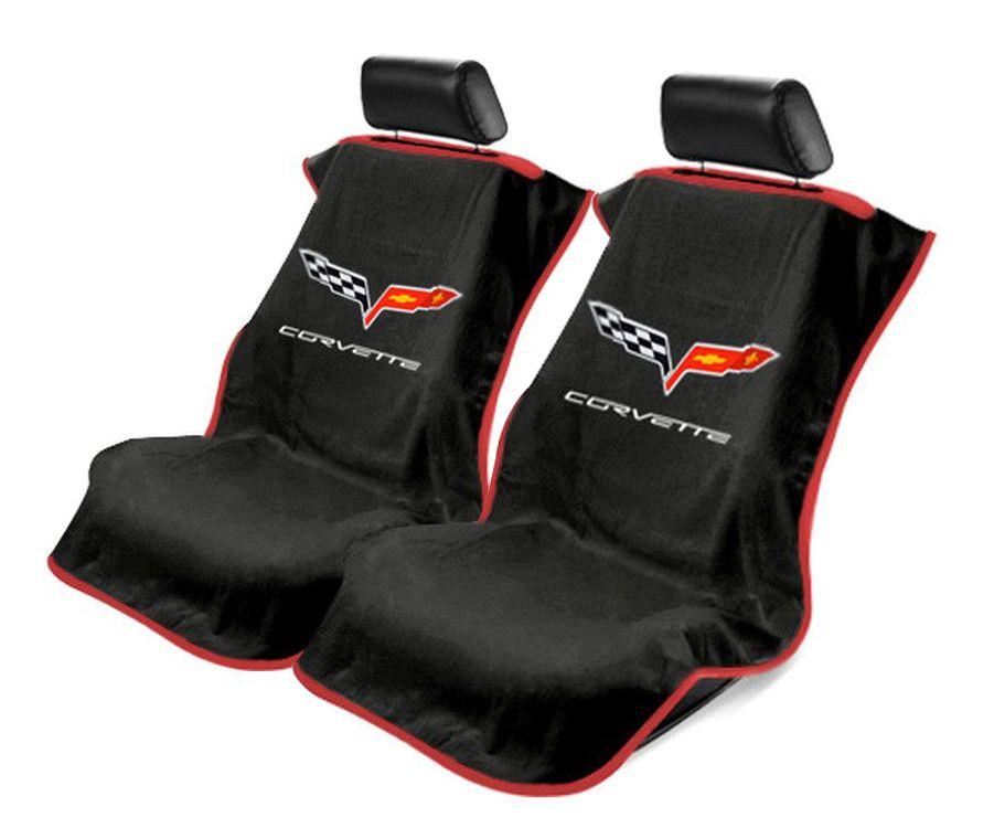 Black 3PC Towel Protectors For Corvette C6 - 2X Seats Covers & 1X Console Cover