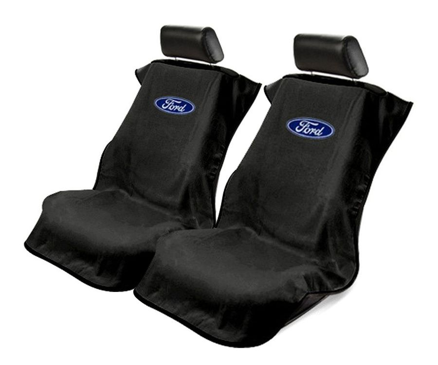 Seat Armour Pair of Black Towel Seat Covers with Ford Logo, Front-Right View