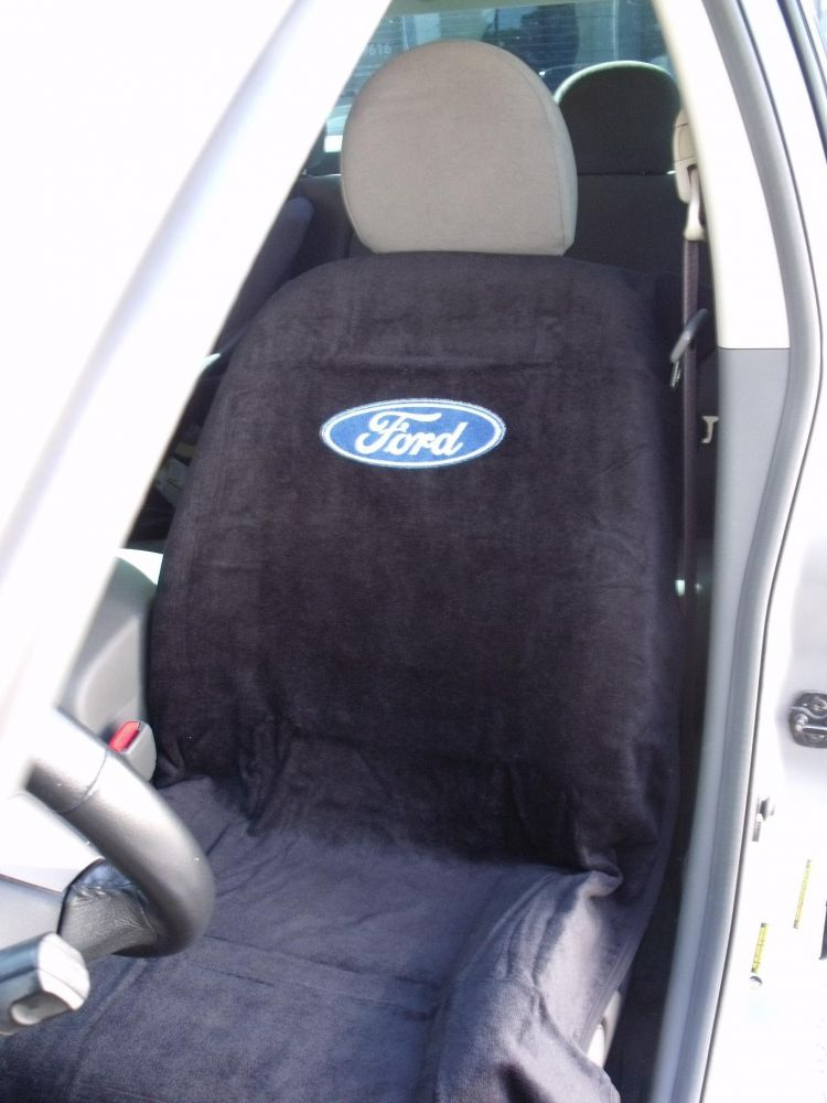 Seat Armour Pair of Black Towel Seat Covers with Ford Logo, Inside Car View