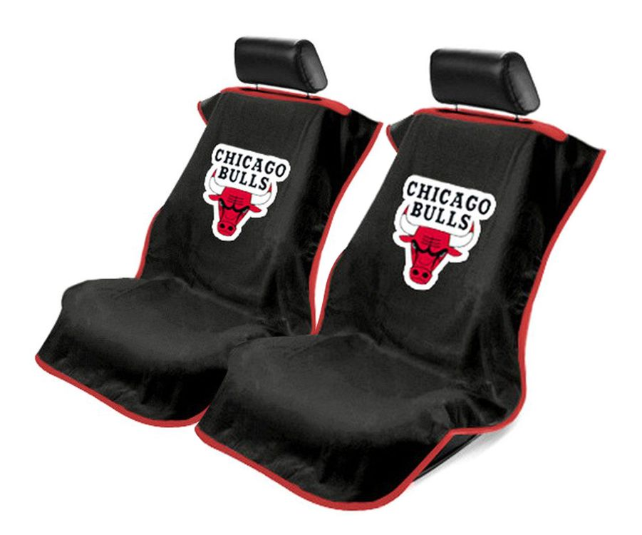 Seat Armour Pair of Black Towel Seat Covers with NBA Chicago Bulls Logo, Front-Right View