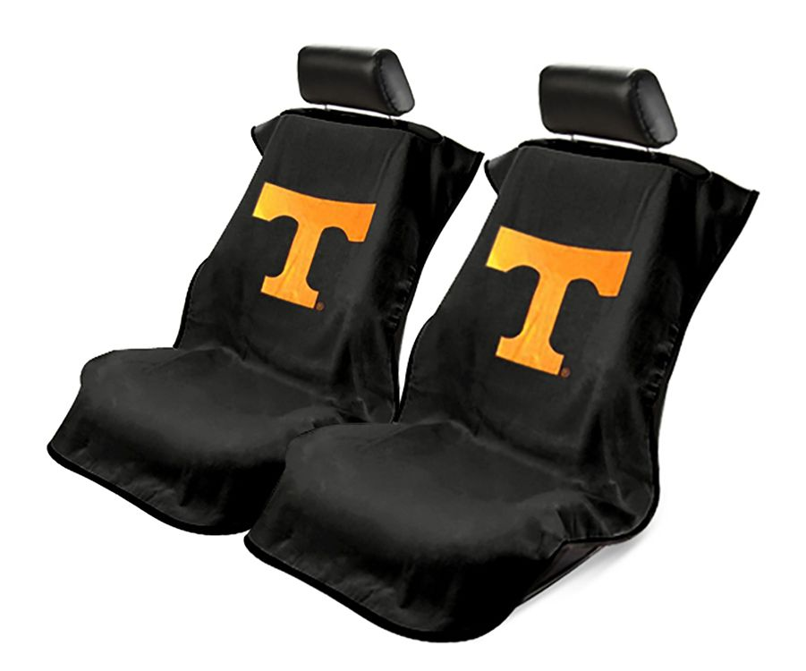 Seat Armour Pair of Black Towel Seat Covers with NCAA Tennessee University Logo, Front-Right View