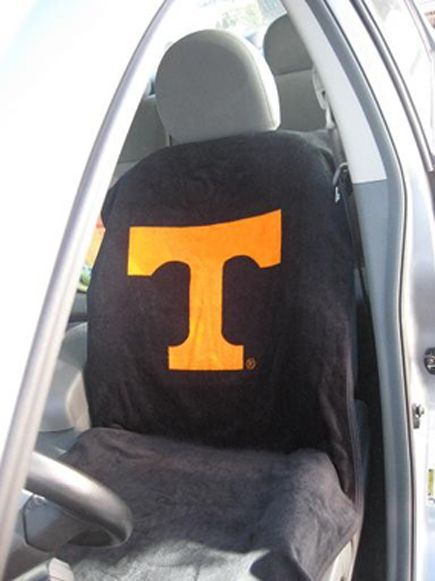 Seat Armour Pair of Black Towel Seat Covers with NCAA Tennessee University Logo, Inside Car View