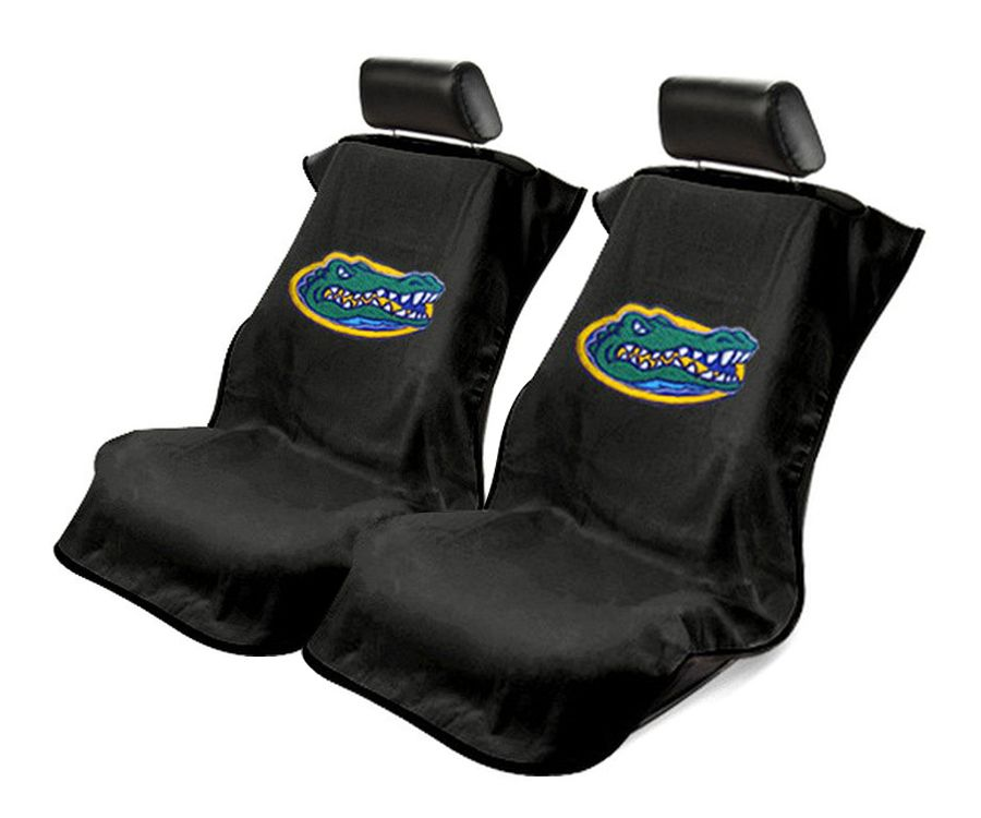 Seat Armour Pair of Black Towel Seat Covers with NCAA UF Gators Logo, Front-Right View