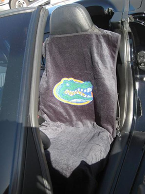 Seat Armour Pair of Black Towel Seat Covers with NCAA UF Gators Logo, Inside Car View